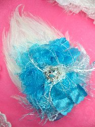FB56 White And Turquoise Floral Rhinestone Feather