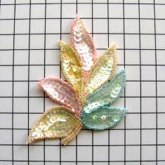 "FS476 Leaf Applique Sequin Ceylon Multicolor Combo Beaded Motif 4"""