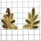 "Small Pair Leaf Appliques Sequin Gold and Bronze Mirror Pair Beaded Motif 2"" (FS476SX)"