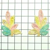 "Small Pair Leaf Appliques Sequin Ceylon Multi Mirror Pair Beaded Motif 2"" (FS476SX)"