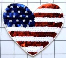 "FS5785A Patriotic Heart Beaded Sequin Applique 4.75"""