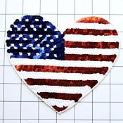 "Large Patriotic Applique Heart Beaded Sequin American Flag Patch 6.5"" (XR370)"