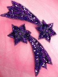 "FS652 Shooting Star Appliques Purple Mirror Pair Beaded Sequin 4"""
