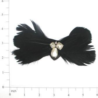 "E4152  Black Silver Feather Applique Brooch 5"""