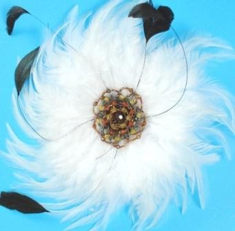"""RME4162   White Victorian Feather Brooch / Applique 9""""  Available in 3 Colors"""