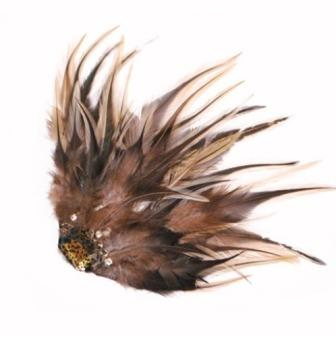 E4166  Leopard Feather Brooch / Pin Vintage Style