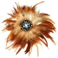 E4246  Auburn Brown Rhinestone Feather Brooch 9""