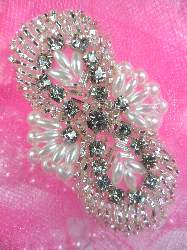 FS04RS Silver Beaded White Pearl Crystal Rhinestone Applique 2.75""