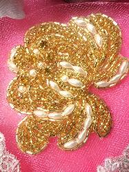 "FSSF08 Gold Pearl Rose Beaded Applique w/ Gold Rhinestones  3.25"""