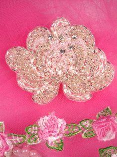 "FSSF08 Silver Pearl Floral Rhinestone Beaded Applique 3.5"""