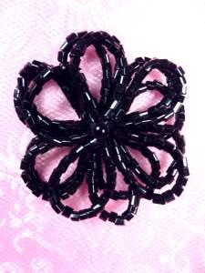 """FS1019 Black Beaded Applique Flower 1.5"""""""