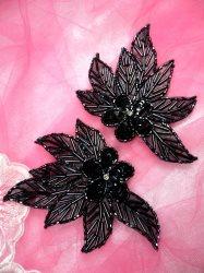 "FS1020 Gunmetal Flower Mirror Pair Beaded Sequin Appliques 4.5"""