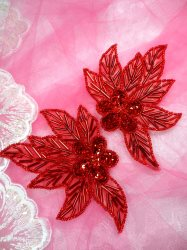 """FS1020 Red Flower Mirror Pair Beaded Sequin Appliques 4.5"""""""