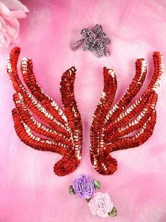 FS1061X Red Mirror Pair Sequin Appliques 6""