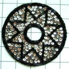 "FS1064  Black Silver Round Star Beaded Sequin Applique 4.5"""