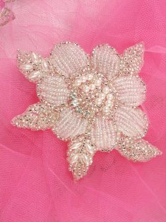 "FSSF11 Crystal Silver Pearl Rose Floral Beaded Rhinestone Applique 4"""