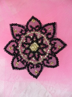"""FS1113 Black and Gold Sun Beaded Applique 2.5"""""""