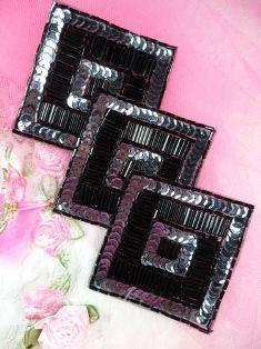 "FS1158 Gunmetal Black Triple Diamond Beaded Sequin Applique 7"""