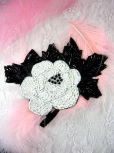 "FS128 Black & White Floral Beaded Sequin Applique 5.5"""