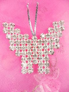 FS14381 Silver Crystal Clear Butterfly Applique Embellishment 2""