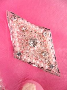 """FS151  Rhinestone Silver Pearl Diamond Beaded Applique 2.75"""""""