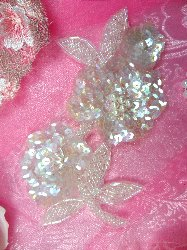 """FS1586 Crystal Iris Pearl Floral Beaded Sequin Applique 6"""""""