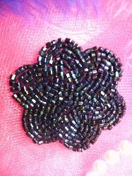 FS1594 Blue Iris Floral Beaded Applique