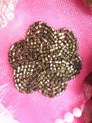 FS1594 Bronze Brown Floral Beaded Applique