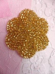 FS1594 Gold Floral Beaded Applique