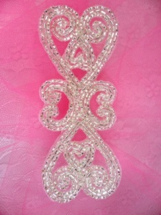 """FS15 Reserved listing Silver Beaded Double Heart Applique 5"""""""