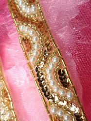 FS160B  Gold Pearl Designer Sequin Beaded Trim