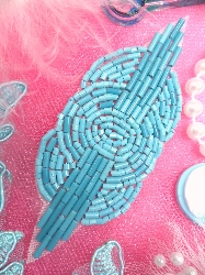 """FS174  Small Turquoise Opaque Circle Beaded Applique 3.25"""""""
