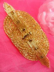 "FS174L Gold Rhinestone Triple Circle Beaded Applique 4.5"""