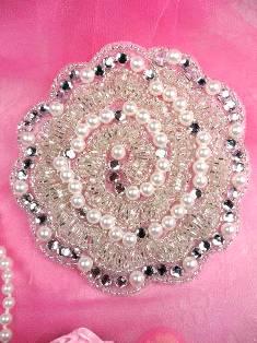 """FS178 Silver Pearl Beaded Crystal Rhinestone Applique 4"""""""