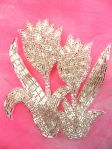 "FS179 Silver Beaded Pearl Applique 4.25"""