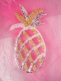 """FS1858 Gold Silver Pineapple Beaded  Applique 4"""""""