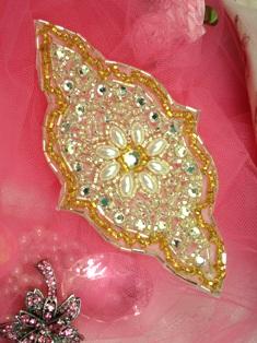 "FS21 Gold Silver Pearl Beaded Rhinestone Applique 5.5"""