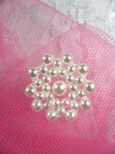 "FS2233 White Pearl Beaded Applique 7/8"""