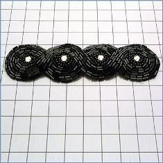 """FS2239  Black Braided Rhinestone Beaded Applique 4.75"""""""