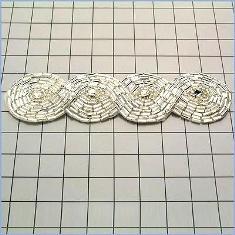 """FS2239  Silver Braided Rhinestone Beaded Applique 4.75"""""""