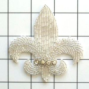 "FS2240 Fleur de Leis Rhinestone Silver Beaded Applique 3.25"""