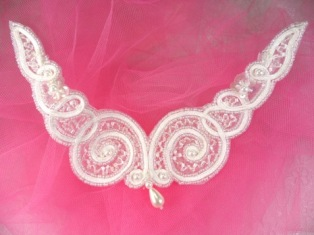 """FS228 Crystal AB & White Beaded Collar Applique 6"""""""
