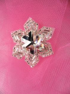 "FS2360 Snowflake Jewel Beaded Applique 1.5"""