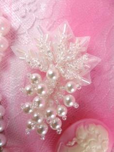 "FS2541 Crystal AB Pearl Leaf Cluster Beaded Applique 2"""