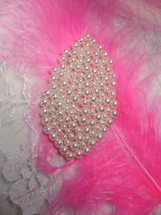 """FS2630 Pearl Leaf Beaded Applique 2.5"""""""