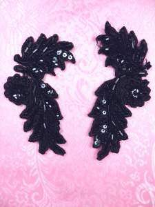 FS2644 Black Appliques Venice Lace Floral Beaded Mirror Pair 4""