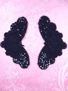 FS2672 Black Pearl Appliques Venice Lace Floral Beaded Mirror Pair 4""