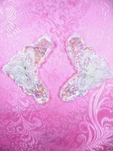 """FS2672 Crystal Iris Pearl Appliques Venice Lace Floral Beaded Mirror Pair 3.25"""""""