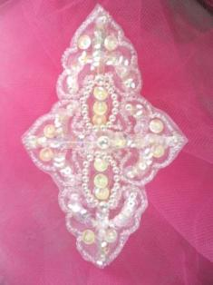 """FSV293 Crystal AB White Pearl Sequin Beaded Applique 4.75"""""""