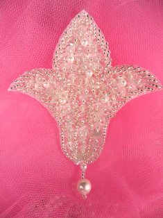 """FS294 Silver Crystal AB Pearl Beaded Sequin Applique 3.75"""""""